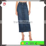 Wholesale custom long blue jeans skirt for women new design