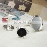 10-20mm Silver Plated Round Blank Cufflink Base For Glass Cabochon