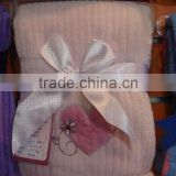 coral fleece baby coating with embroidery&ribbon