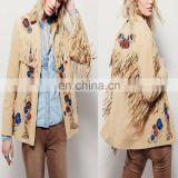 Western and bohemian floral bead accents embroidered fringe trimmed vintage suede jacket