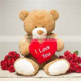 2018 New Brown Stuffed Plush Valentine Teddy Bear With Red Heart Wholesale Cute Kids Soft Plush Toy Huge Giant Teddy Bear