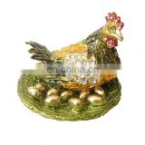 Hen lay egg Chinese metal craft animal metal jewelry box