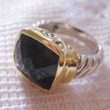 Gold Plated Silver Jewelry Black Onyx Noblesse Ring(R-082)