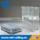 Folding stack wire mesh container for heavy industry
