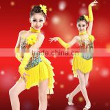 Cheap in-stock fashion children sequin latin /jazz dance costume modern dance costumes ( yellow+ red)