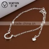 2014 free body jewelry sample silver slim chain anklet jewelry