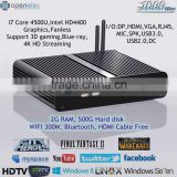 2G SO-DDR3 Memory 500GB HDD SATA Bluetooth Win8 XBMC i7 Dual Core PCI-E Networking Card HD4400 Graphics Digital Signage Player