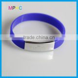 High quality silicone wristband bracelet with metal plate
