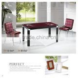4 feet glass top dining table with leather chairs factory sell directly YY8                                                                         Quality Choice                                                     Most Popular