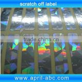 Laser hologram scratch off label cold sticker roll easy peel off label 8*40mm