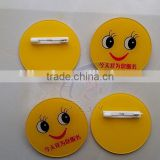 Acrylic badges with smile printing, Cute custom acrylic badge with safety pin