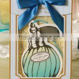 2016 3D Bottle pattern with deep blue ribbon handmade greeting card/ invitation card/birthday card