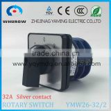 Yaming Cam switch YMW26-32/2 changeover rotary switch 2 poles 3 positions 1-0-2 8 knots Ith 32A Ui 690V sliver contacts