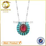 Unique design Brazil jewelry souvenir gold plated turquoise gemstone women zirconia necklace