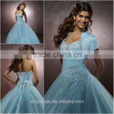 Classic Western style lignt Blue Ball gown dress patterns quinceanera Dresses with Jacket CYQ-008