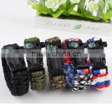 DIHAO wholesale blue cord compass survival bracelet with Fire maker Flint buckle,Military Bracelets,wholesale paracord bracelet