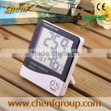 High Quality LCD household wall clock with temperature humidity meter HTC-1