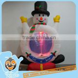 Inflatable Ornament Christmas Snowman Ride on Gift Box Snow Spraying Decoration With Changable LED Light