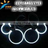 12V CCFL angel eyes one set 4rings 2inverters 95mm& 125mm angel eyes for projector lens for Golf 5 car headlights