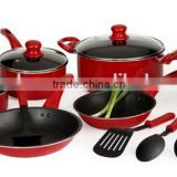 Brand Cookware Set,Stainless Steel,8 Pieces,With Glass Lid,Red Knobs And Handles(JL-070157)