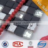 white black high quality glass mosaic stone mosaic table silver foil glass mosaic