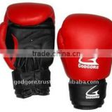 Training and Sparring Hand Crafted Mould Plain Black and Red Artificial Leather Velcro Closure Muay Thai Gloves