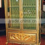 Antique golden display glass cabinet - vitrine