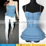 2016 Night club sexy women Spaghetti backless Denim vest top Ladies Ruffled Camisole jeans top design