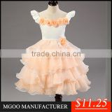 MGOO Latest Design Stocklot Pretty Girl Pageant Dresses Kids Champage Flowers Toast Embroidery Dress MGT005-3