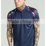 2016 Fashion Design Mens Baseball Jersey with Sublimation Printed Sleeves 100% Polyester Curved Hem 1/4 Zipper Baseball T Shirt