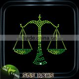 Cheap Bling Beatiful Libra Rhinestone Motif Iron On T-shirts Transfer Custom Constellation