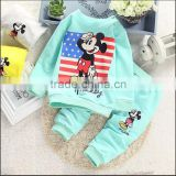 HOT SALE spring autumn baby boy girls print cartoon brand character T-shirt+pants 2 sets kids fashion clothes baby sports suits