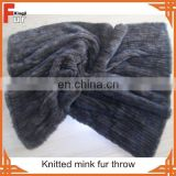 Hand Knitted Real Mink Fur Throw