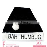2017 New Designs Adult Bah Humbug Black Novelty Santa Claus Christmas Xmas Hat for Christmas Party