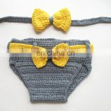 Crochet Baby Photo Props Bow Headband+Bow Diaper Bloomers ,Newborn Crochet Photo Props Set