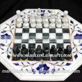 White Marble Inlay Chess Table Top, Inlaid Marble Decorative Table Top