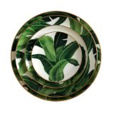 Hot selling nordic style hotel wedding gold rim banana leaf ceramic dinner plate set