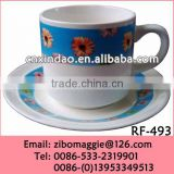 Hot Sale Floral Designed Promotion Ceramic Coffee Cup and Saucer Wholesale for Daily Use