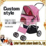 gold seller high quality portable design luxury four wheels pet dog stroller red