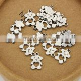S825 Stainless Steel tiny bear hollow Stamping Tag,bear charm                                                                         Quality Choice
