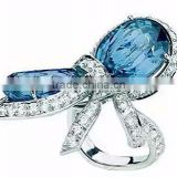 Silver Ring, CZ Crystal Diamond 925 Sterling Silver Ring, Ring Silver Gold Plated Rings Jewelry PT9006