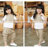 two piece suit cotton children girl dress summer short sleeves baby girl dress OEM service