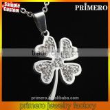 2016 New Arrival Titanium Full Rhinestones Clover Necklaces Male Stainless Steel Pendant
