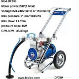 DF330 new high pressure airless paint sprayer machine 2HP(1.5KW) 210bar/3045PSI 4. L/min for two spray gun working together