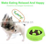 New Arrival Wholesale Price Pet Dog Cat Food Slow Feeder Jungle Design Puppy Anti Slip Choke Proof Bowl Green Color