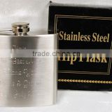 6oz debossed Stainless Steel Hip Flask with black box