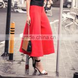 Women's Chiffon Summer Loose Wide Leg Pants Red Black Solid Trousers OEM Supplier In Guangzhou