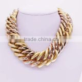 Wholesale rose gold two color cowboy cuban link chain necklace GJ-095