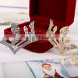 Korean Fashion Girl Jewelry Alloy Crystal Hollow Out Crown Shape Hair Pins Accessories Wedding Decoration Headdress