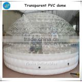 High quality transparent inflatable PVC dome tent with white base